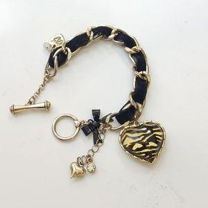 Betsey Johnson zebra heart, velvet bracelet.